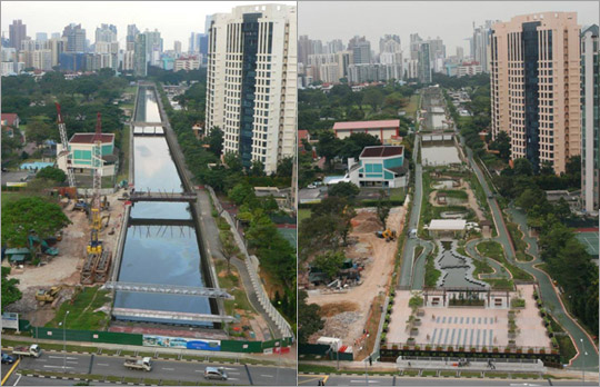 © PUB, Singapore's national water agency | The Alexandra Canal project before and after.