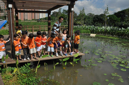 © CH2M HILL | Tuck Wai Lee explains how the wetlands at Alexandra Canal work to school children.