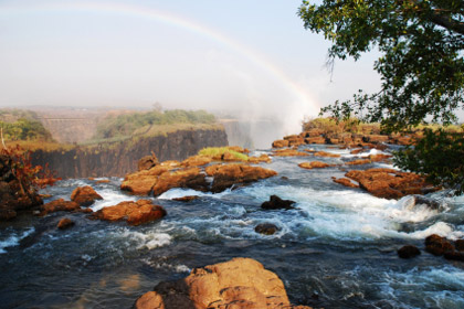 © iStockphoto.com/empusa | Rainbow falls seen from the Zambian side of Victoria Falls.