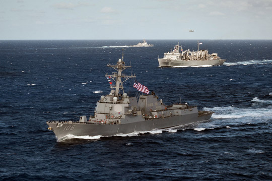 U.S. Navy photo by Mass Communication Specialist 2nd Class David Hooper | The USS Stockdale (DDG 106) is underway in formation as part of the Nimitz Carrier Strike Group Surface Action Group (SAG) as they transit the western Pacific Ocean.