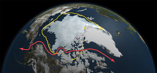 Credit: NASA Goddard's Scientific Visualization Studio | NASA satellite data reveals how 2011's minimum sea ice extent, reached on Sept. 9, as depicted here, declined to a level far smaller than the 30-year average (in yellow) and opened up Northwest Passage shipping lanes (in red).