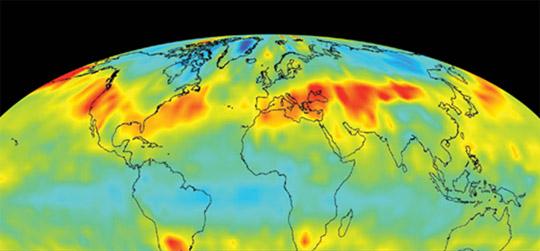Courtesy NASA | Data from NASA's Aqua satellite show concentrations in the atmosphere of CO2, a gas known to influence climate change. ASCENDS, a proposed mission, would provide continuous global-scale measurments of CO2.