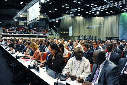 UN Photo/UNFCCC/Jan Golinski |A view of delegates at the UN Climate Change Conference in Durban, South Africa, on the conference's opening day.