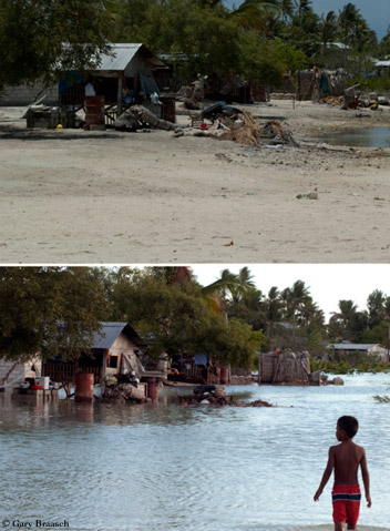 Kiribati, located in the central tropical Pacific Ocean, at low tide and high tide.