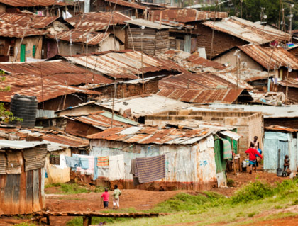 © iStockphoto.com/ranplett A view of Kibera, a densely populated neighborhood in Nairobi known as one of Africa's largest slums.