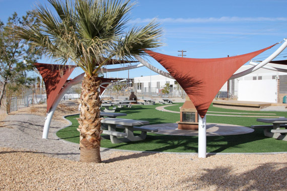 Twentynine Palms Marine Corps Air Ground Combat Center |Replacing green lawns at more than 800 residential units with xeriscaping and installing synthetic turf and sunshade has reduced water intensity.