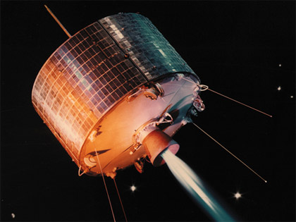 Photo Credit: NASA|Image of Syncom communications satellite, which NASA began developing in 1960.