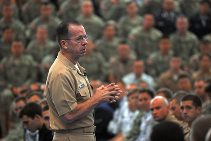 Photo by Petty Officer 2nd Class Steven Shepard |Former Chairman of the Joint Chiefs of Staff, Adm. Mike Mullen, speaks to approximately 2,000 Defense Language Institute/Foreign Language Center staff and students.