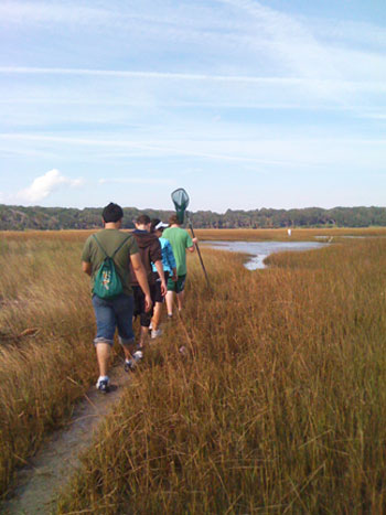 Students from the St. Johns County (Fla.) Career Academy collect samples from a salt marsh tidal creek in North Florida.